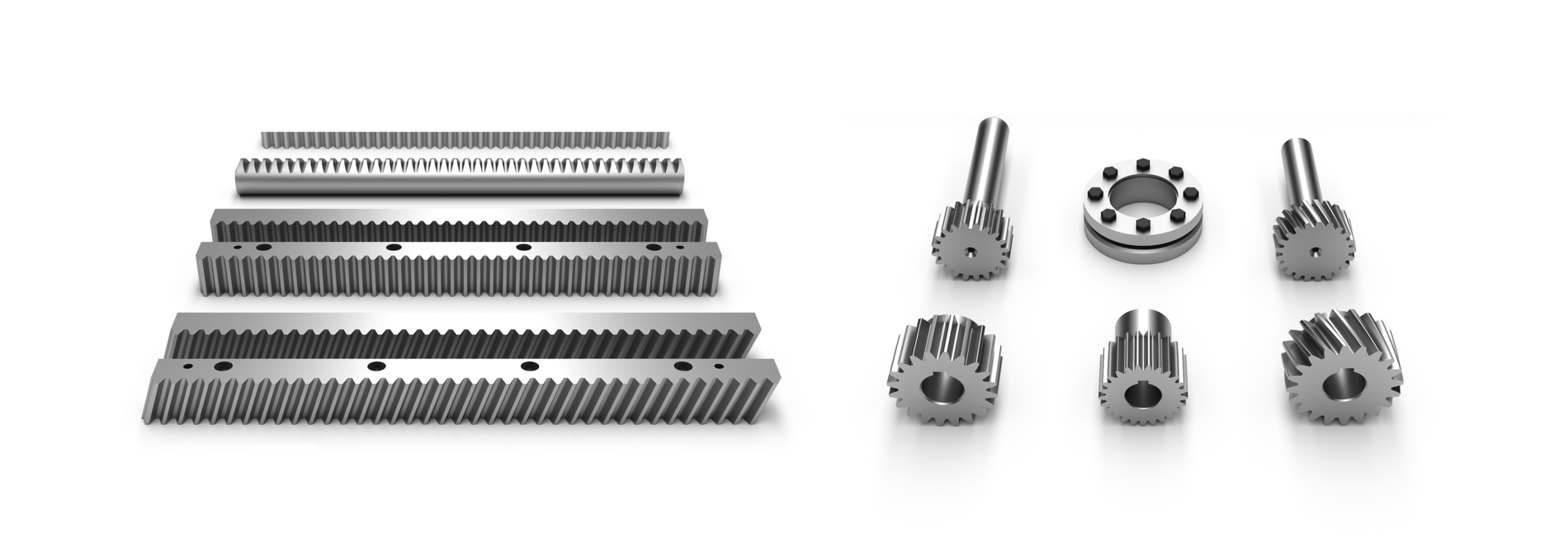 rack, pinion, drive units, rack round, pinion with shaft, straight teeth, helical teeth, steel, stainless, polyamide, hardened, ground, ground, crowned. precision cut, milled | © Güdel Group AG